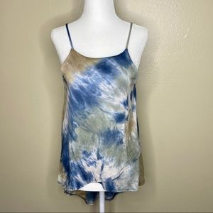Honey Punch Blue and Green Tie Dye Tank Medium NWT
